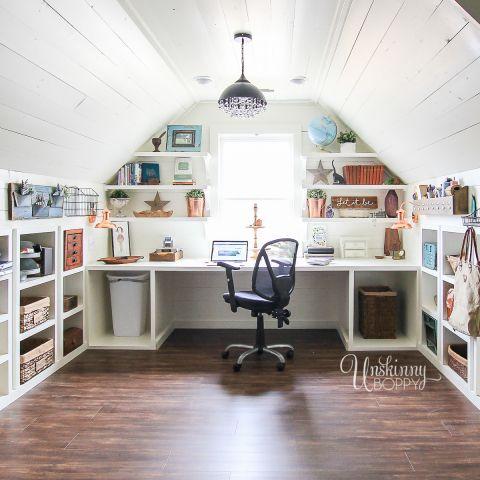 Built In Attic Desk Organization 1 Attic Rooms Attic Craft Rooms Attic Spaces