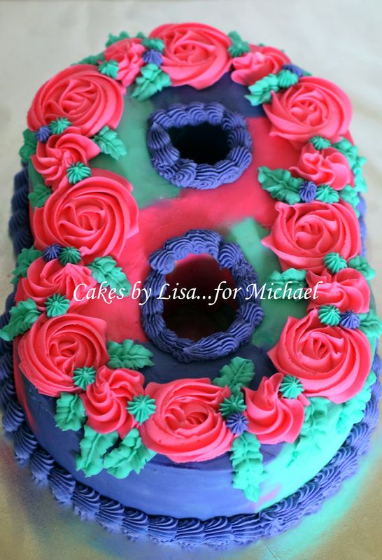 Number 8 Birthday Cake With Rosettes Cakes By Lisar Michael