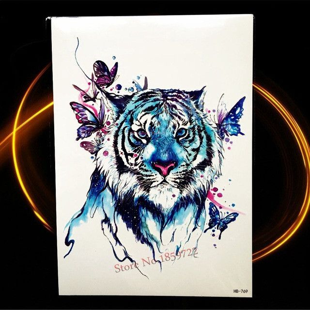 Watercolour Waterproof Temporary Tattoo Tiger King Butterfly Fake