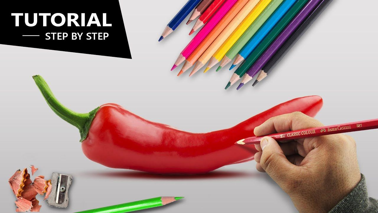 Draw Chilli Pepper With Pencil Colors Tutorial For Beginners Colored Pencil Tutorial Color Pencil Drawing Pencil Art For Beginners