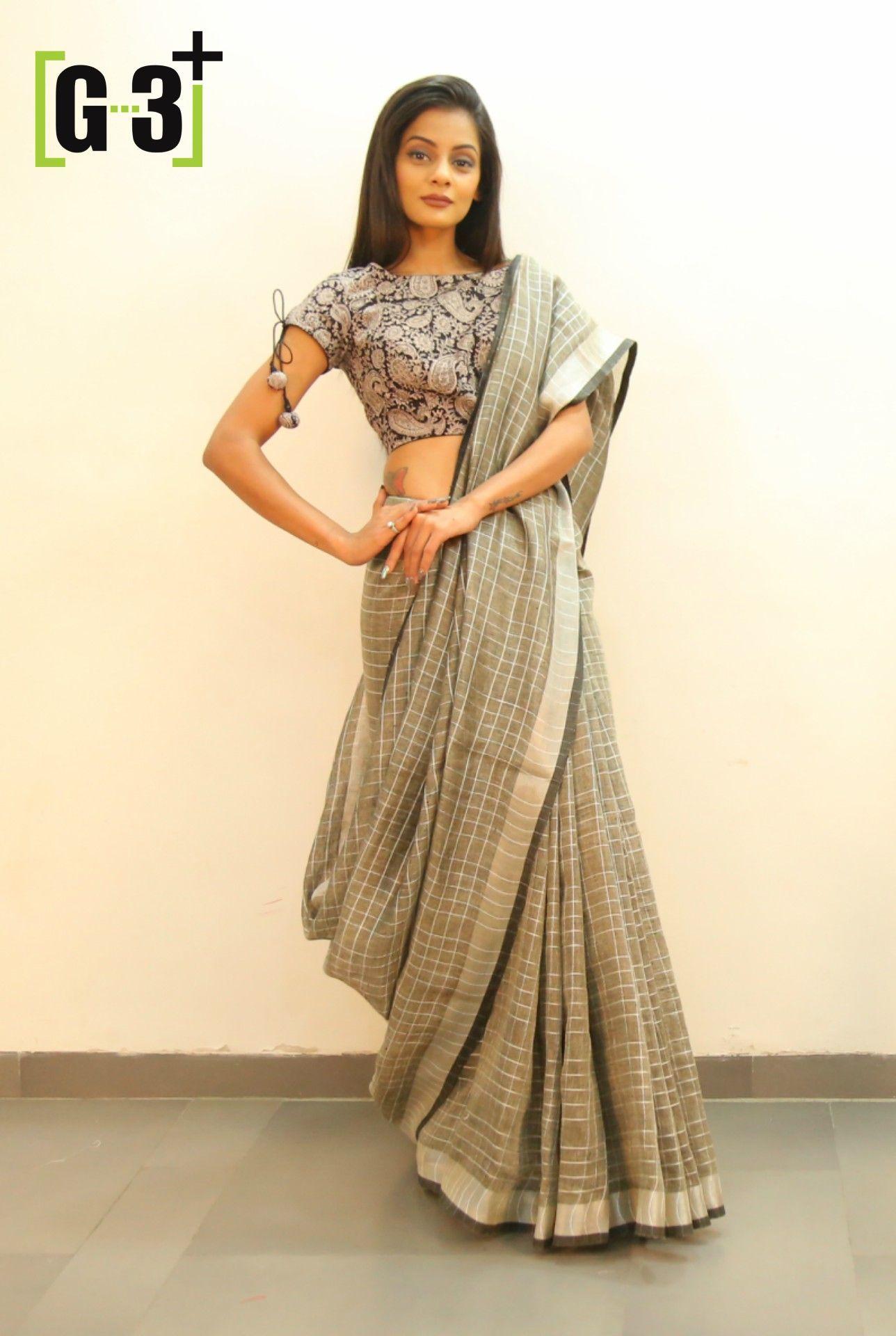 3682b8834d9 Linen saree trends