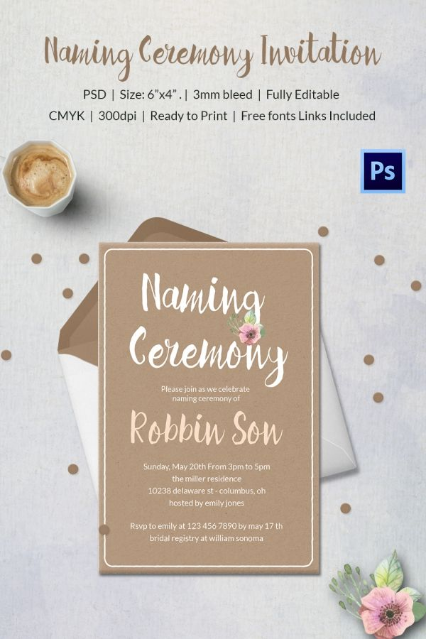 Boy Christening Naming Ceremony Invitation | Invitations - Baby ...