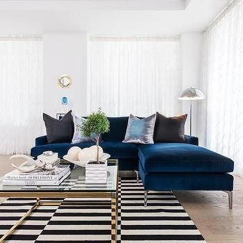 living room: Sapphire Blue Velvet Sofa with Chaise Lounge and Black and  White Striped Rug