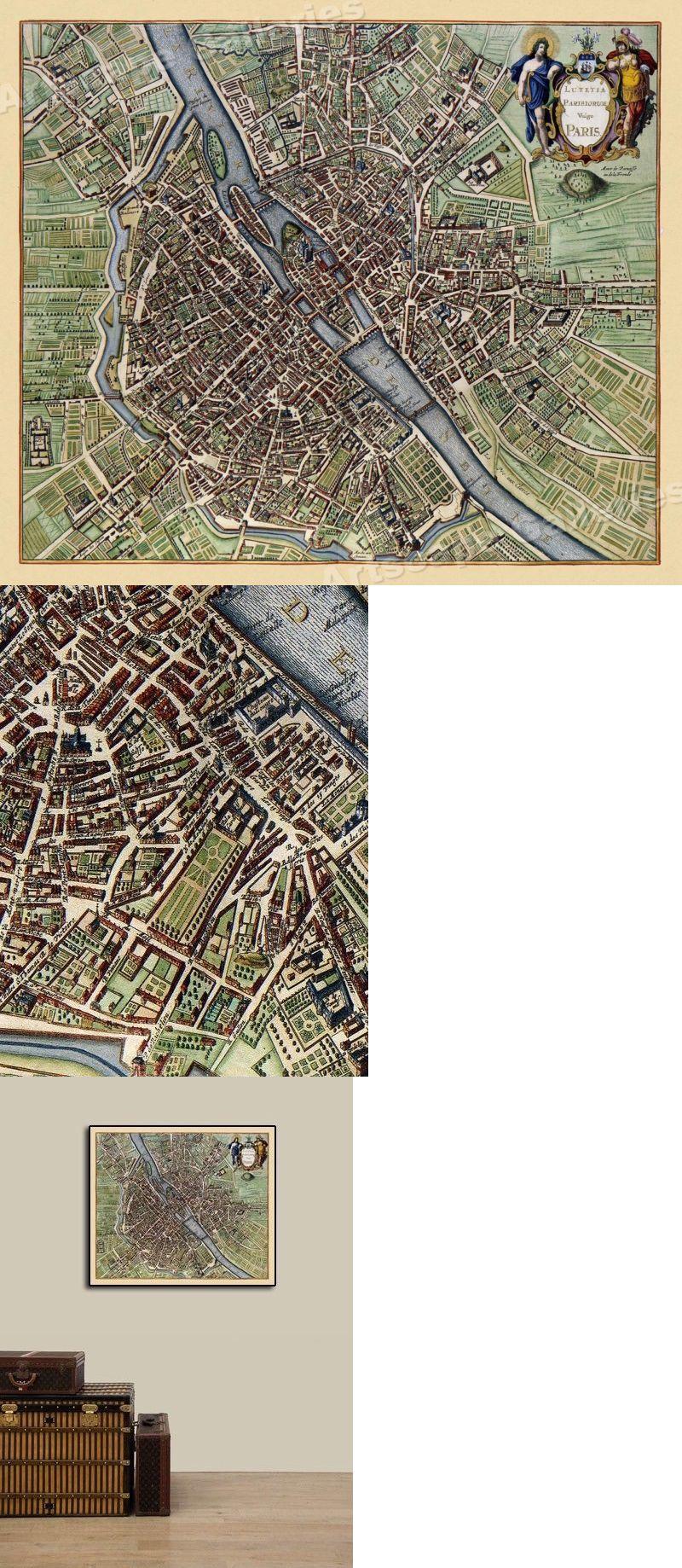 20x24 1657 Paris Seine Historic 17th Century Map