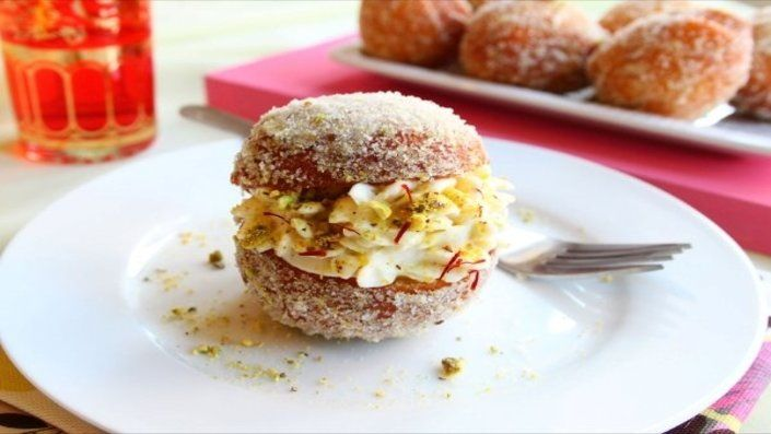 Eggless Saffron and Lemon Shrikhand Doughnuts, easily adapted to vegan