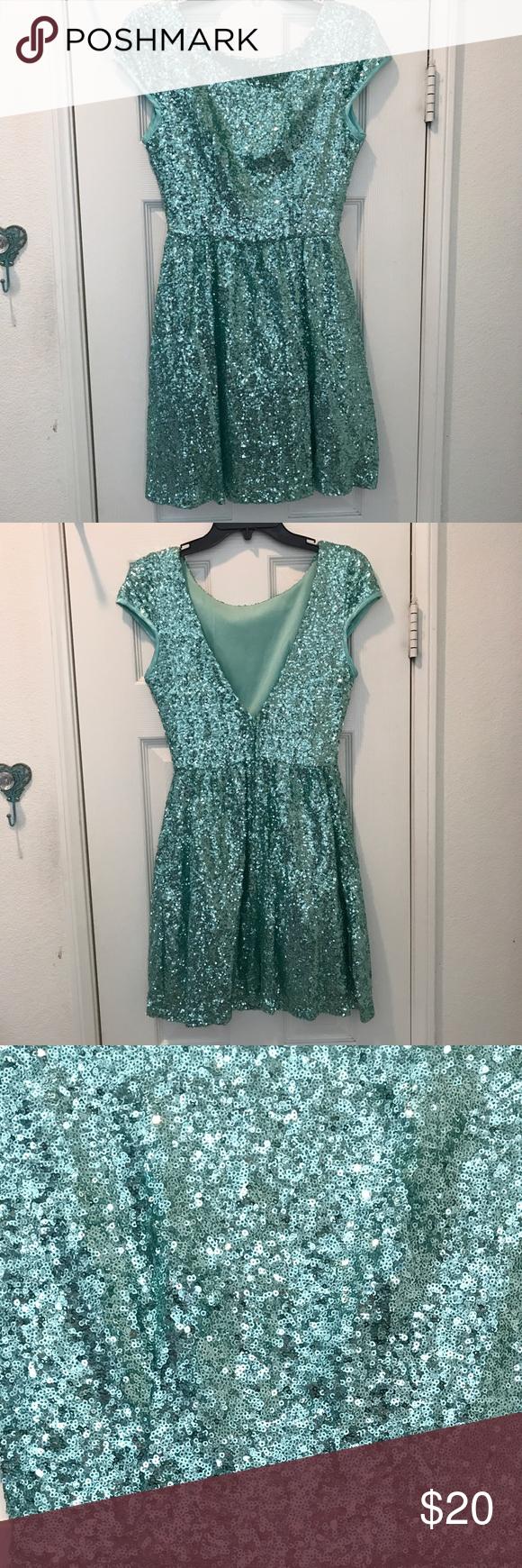 Windsor mermaid teal sequin cocktail dress windsor fc dress