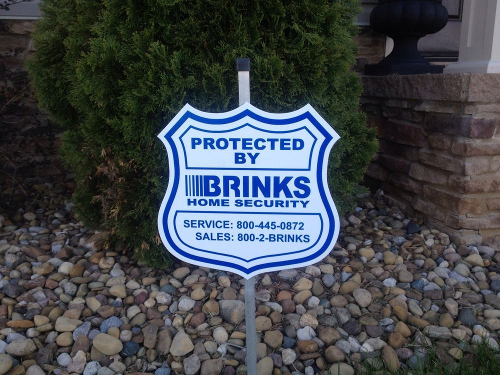 1 Brinks Home Security Alarm Yard Sign 4 Window Door Decal Stickers Reflective Sign Home Security