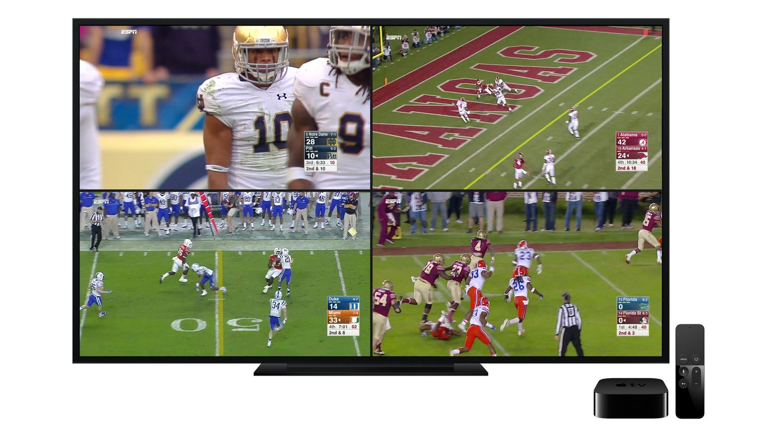 ESPN's new Apple TV app lets you watch four screens of