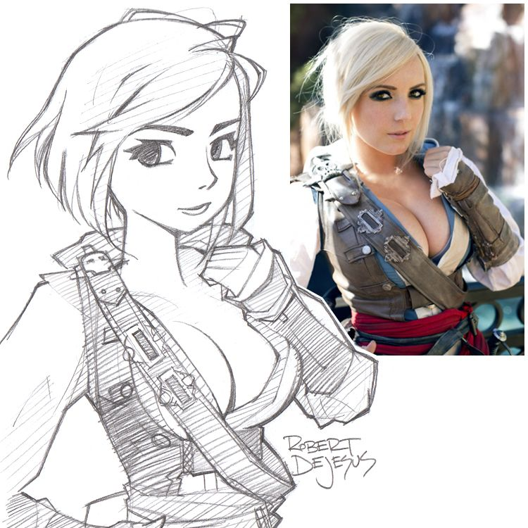Anime style jessica nigri assassins creed
