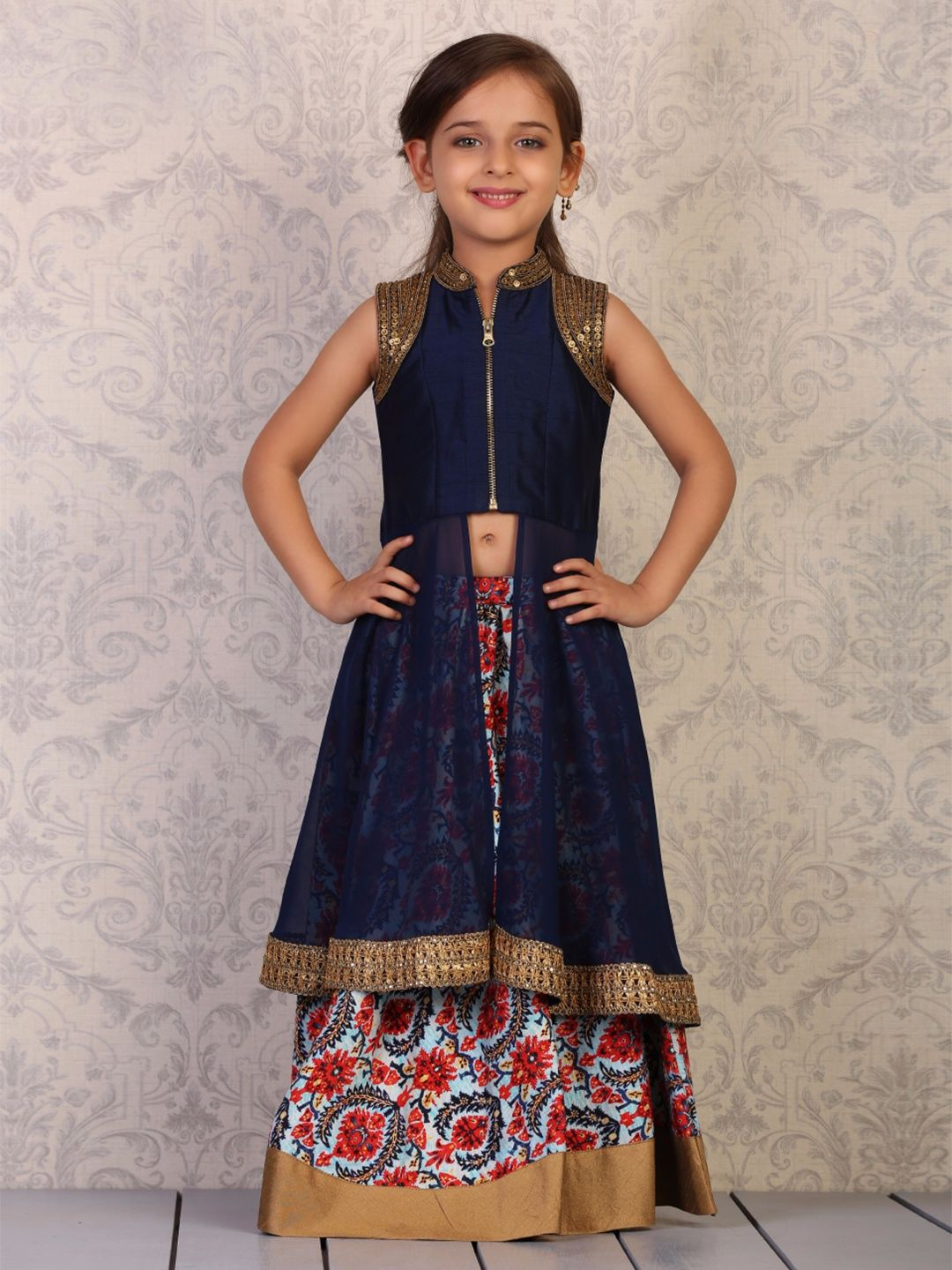 7b913acb57 Navy Raw Silk Lehenga Cum Salwar Suit. Find this Pin and more on Little girl  dresses ...