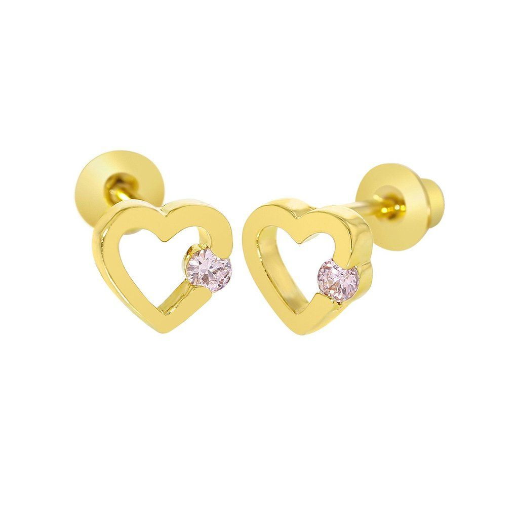 943ae7b1f Baby and Children's Earrings: 18k Gold Filled Open Hearts with Pink CZ with  Screw Backs