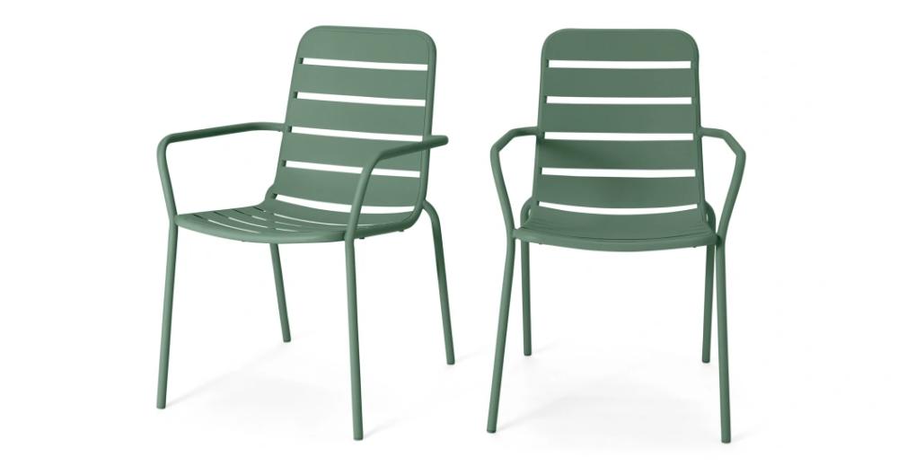 tice lot de 2 chaises de jardin metal