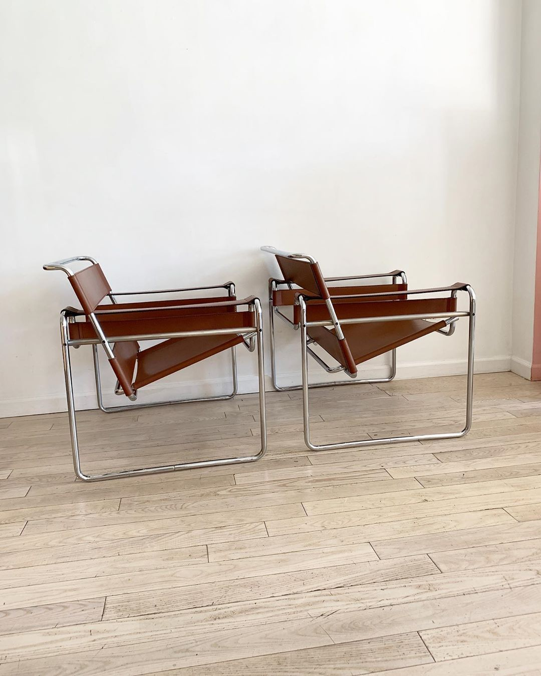 1970s brown leather Wassily chairs designed by Marcel