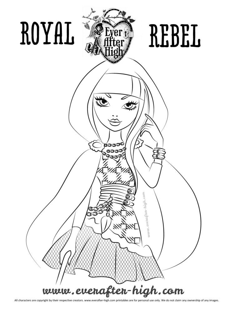 Image of Cerise Hood character in black and white for coloring