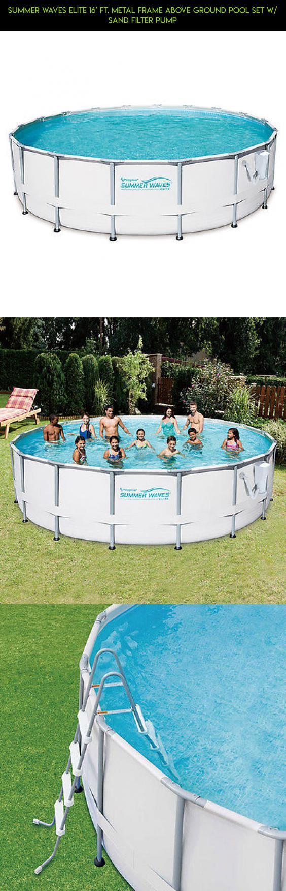 Summer Waves Elite 16\' Ft. Metal Frame Above Ground Pool Set w/ Sand ...