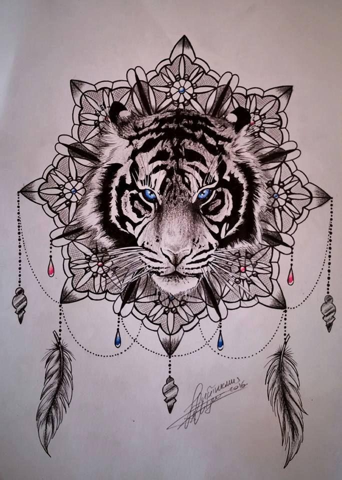 Blue Eyes Tiger Head On Mandala Flower Tattoo Design I Like It