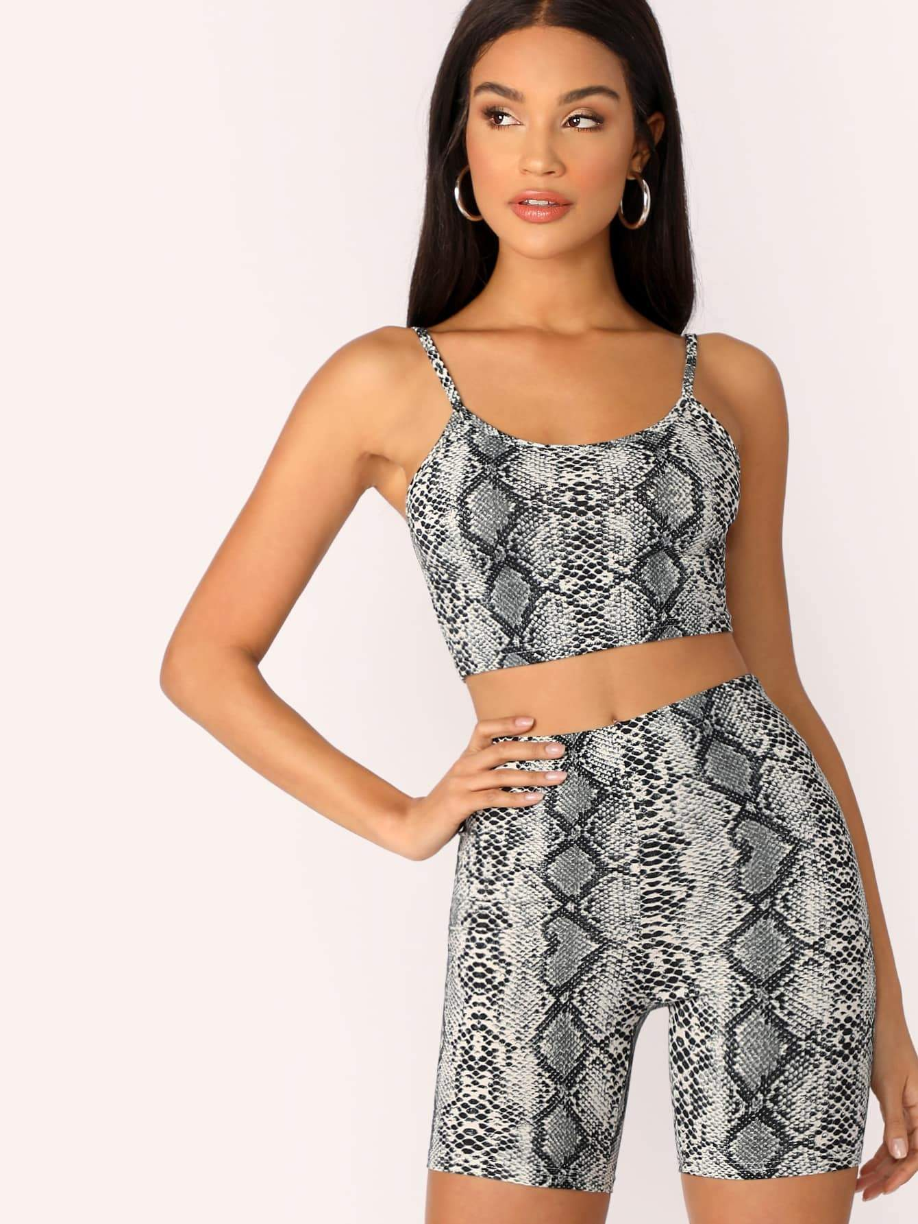 Snake Skin Print Crop Tank Top and Leggings Shorts Set
