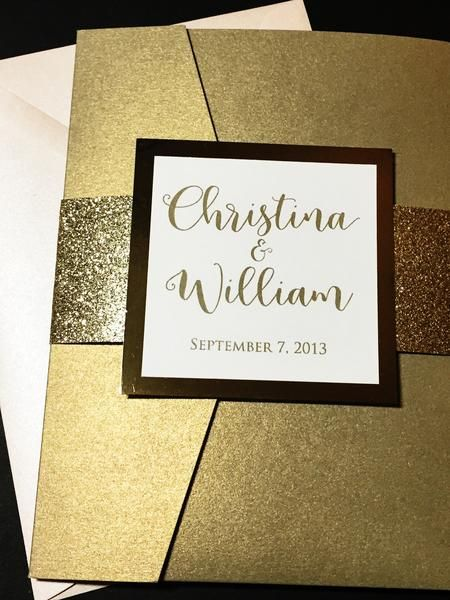 Glitter Wedding Invitation, Pocketfold Wedding Invitation
