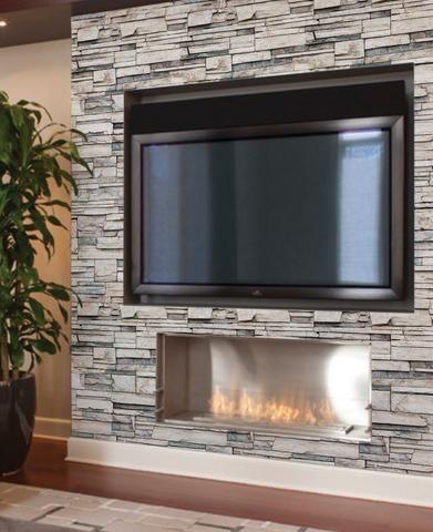 Faux Stone Wallpaper Peel And Stick Fireplace Stone