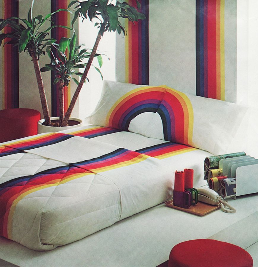 Rainbow bedspread and wallpaper retro home decor  cute vintage also best           images in  rh pinterest