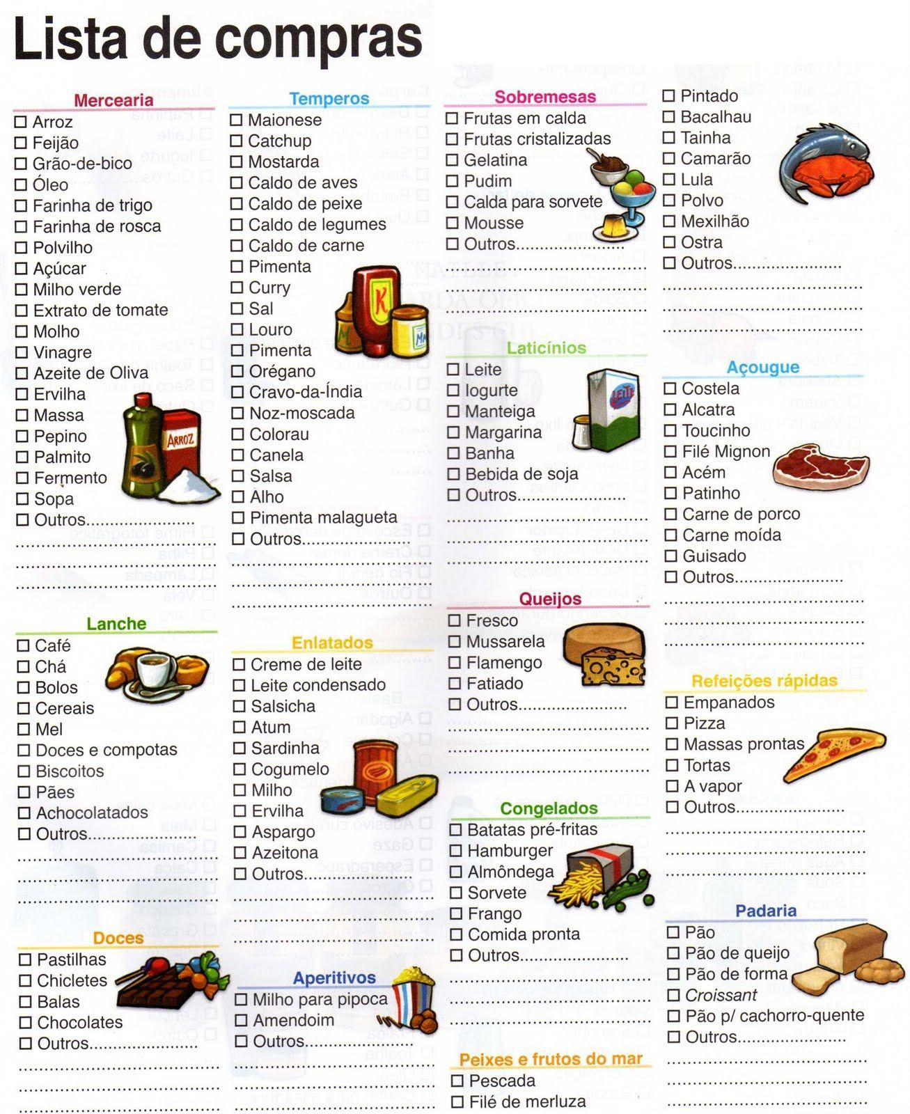 lista de compras de supermercado pesquisa google organizar
