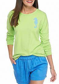 crown & ivy™ beach Seahorse Sweeper Shirt
