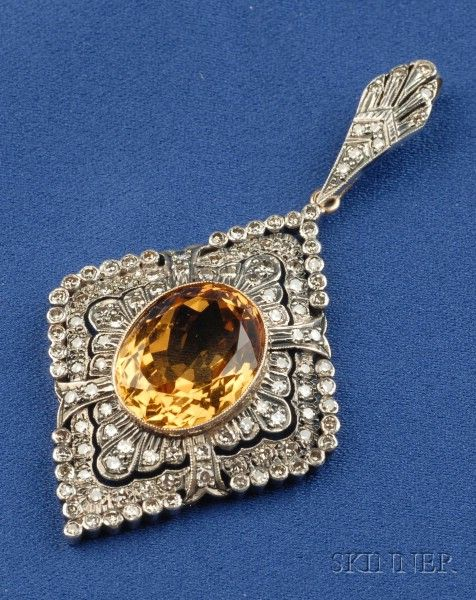 Citrine and Diamond Pendant, bezel-set with an oval-cut citrine framed by single-cut diamonds, silver-topped 18kt gold mount, lg. 2 3/8 in.
