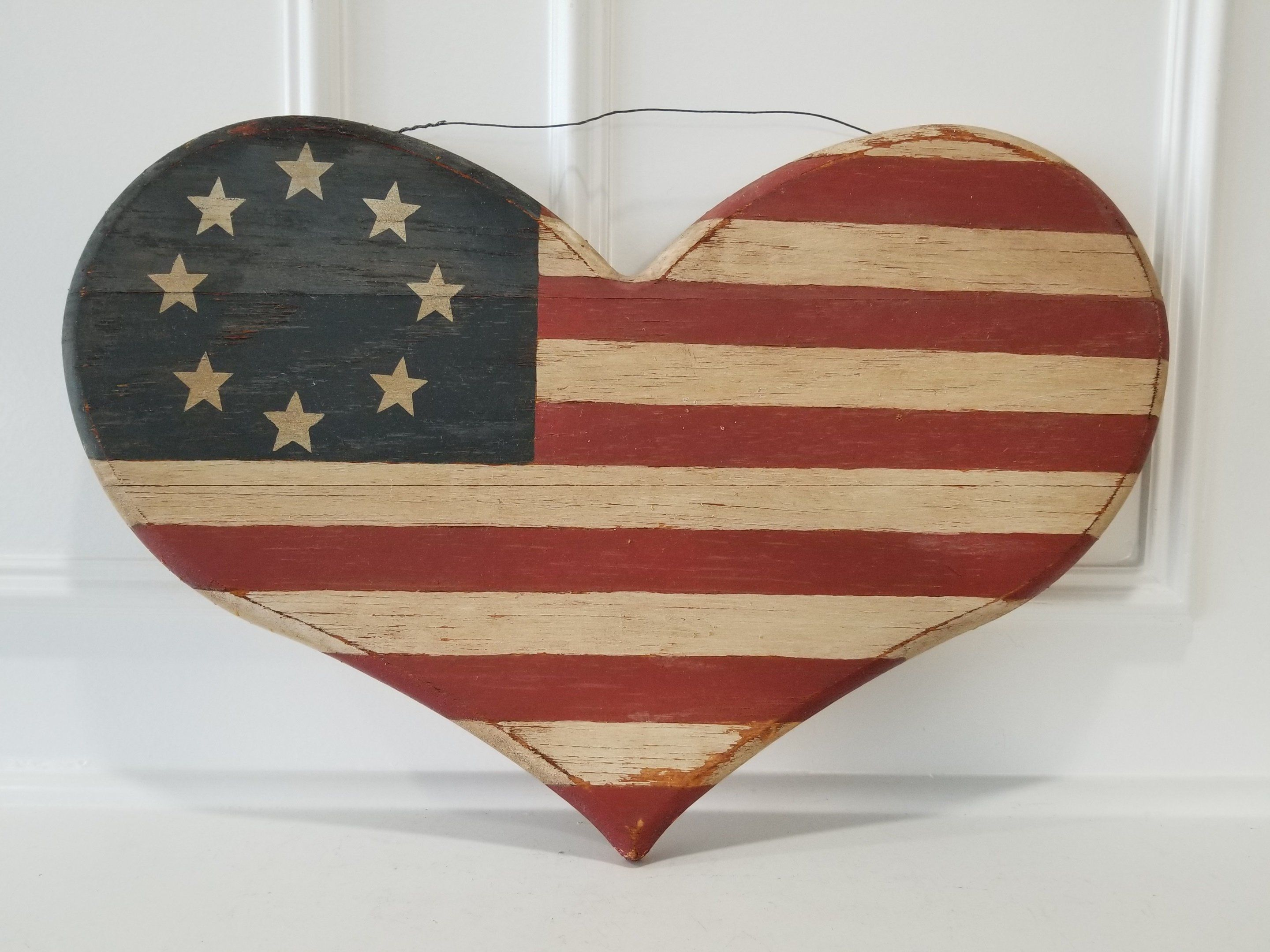 Americana Heart Flag Wood Sign Old Original Wood Sign With Images Wood Signs Wood Ornaments Independence Day Decoration