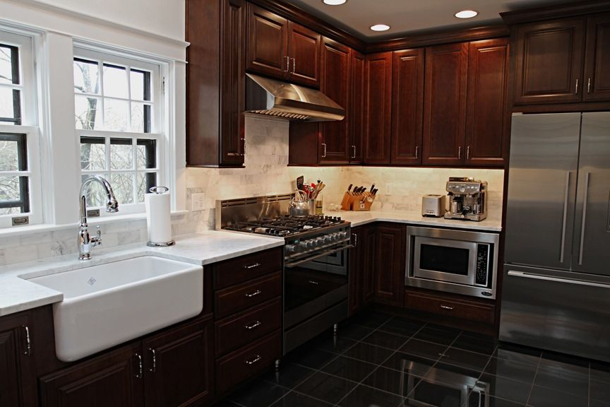 Cherry Cabinet Kitchens With White Farmhouse Sink Google Search White Farmhouse Sink Cherry Cabinets Kitchen Cabinets
