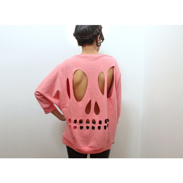 Pink Skull Cut-Out Sweatshirt - L ($55) ❤ liked on Polyvore