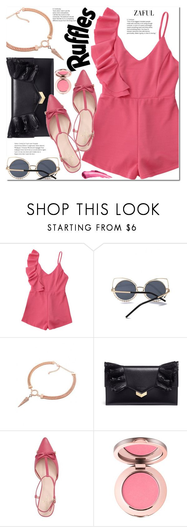 """Ruffle romper"" by duma-duma ❤ liked on Polyvore featuring Jimmy Choo and Kate Spade"