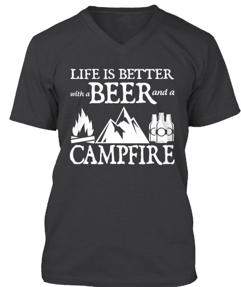 Life with Campfire and beer Funny Camping T-Shirt