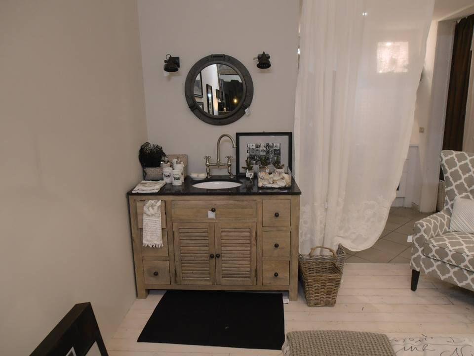 Bagno Legno Grezzo : Mobile da bagno in legno grezzo top marmo nero nuovo abitare