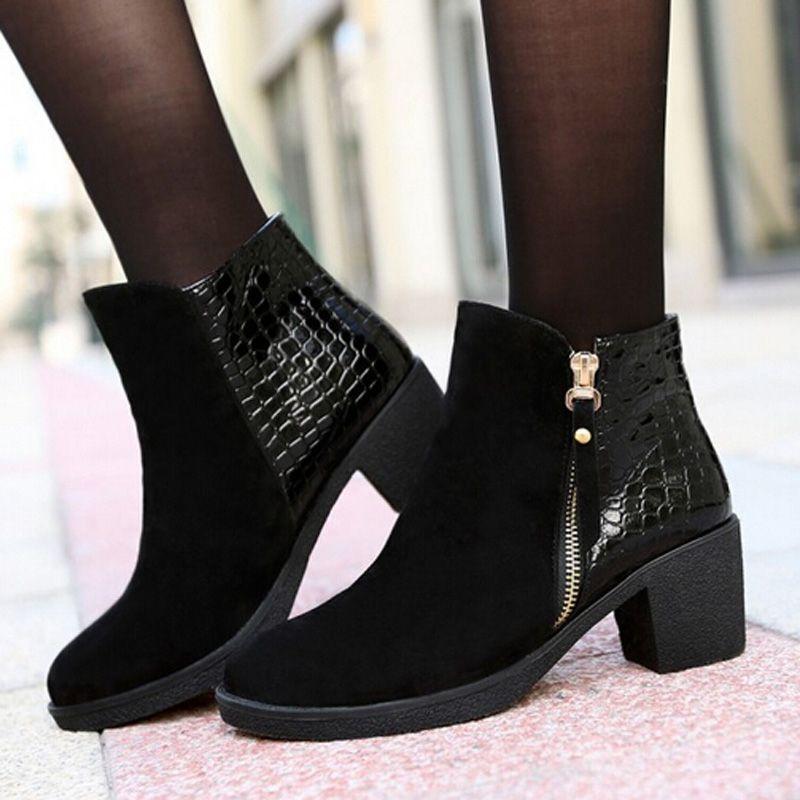 Botas de mujer 2015 nuevo cuero de la PU mujeres botines de tacón grueso Martin botas botas casuales moda otoño Women shoes en Botas de la Mujer de Calzado en AliExpress.com | Alibaba Group