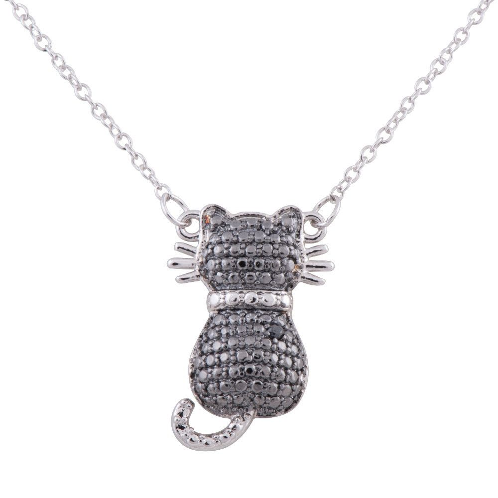 Two-tone Sterling Silver Rhodium Plated Diamond Accent Cat Pendant, 18""
