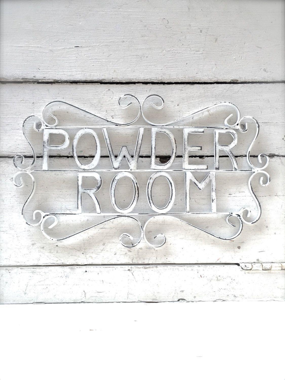 Powder Room Sign, Metal Bathroom Sign, Shabby Chic Decor, Bath Decor, Powder
