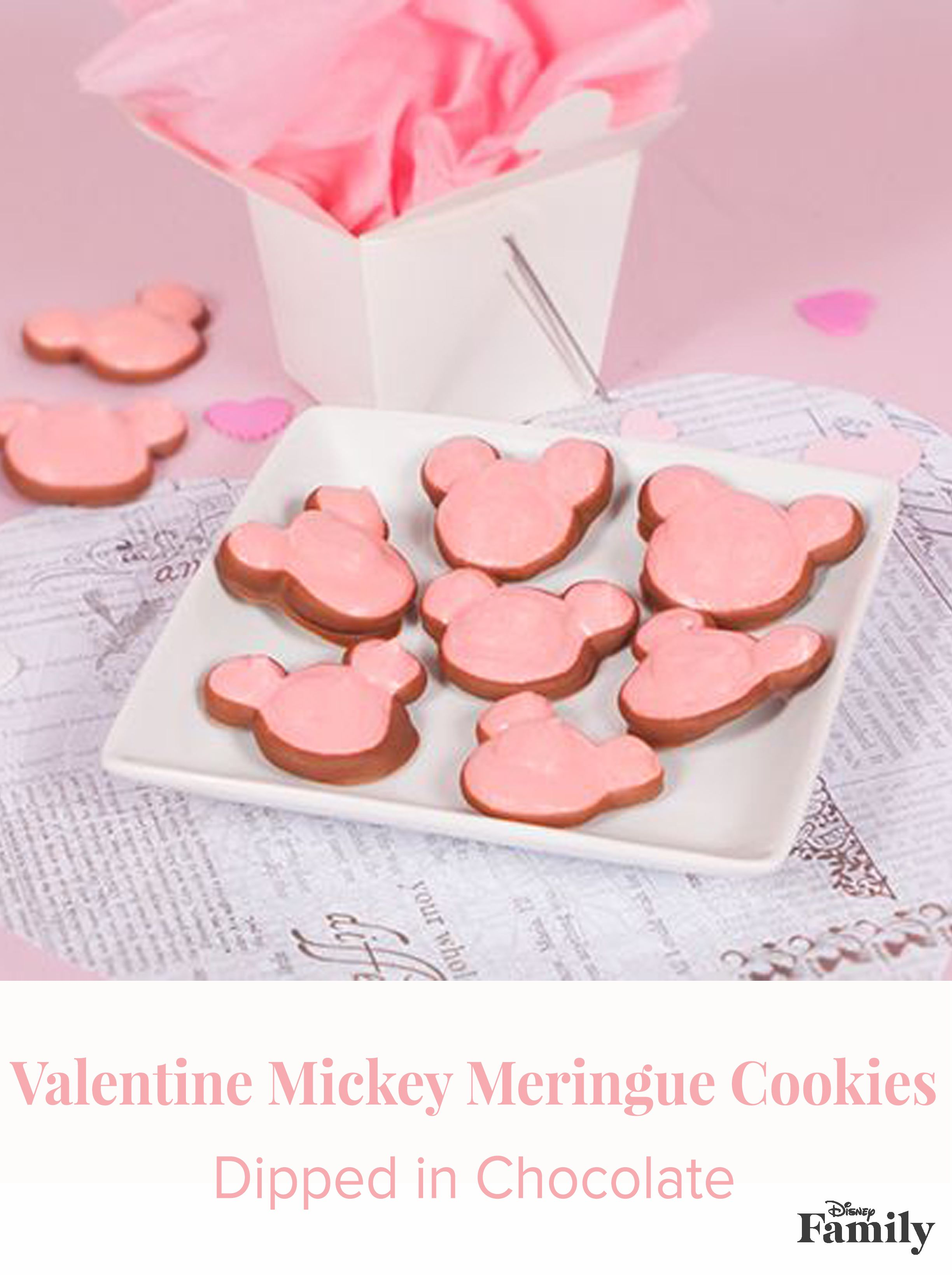 Valentine Mickey Meringue Cookies Dipped in Chocolate | Recipe ...