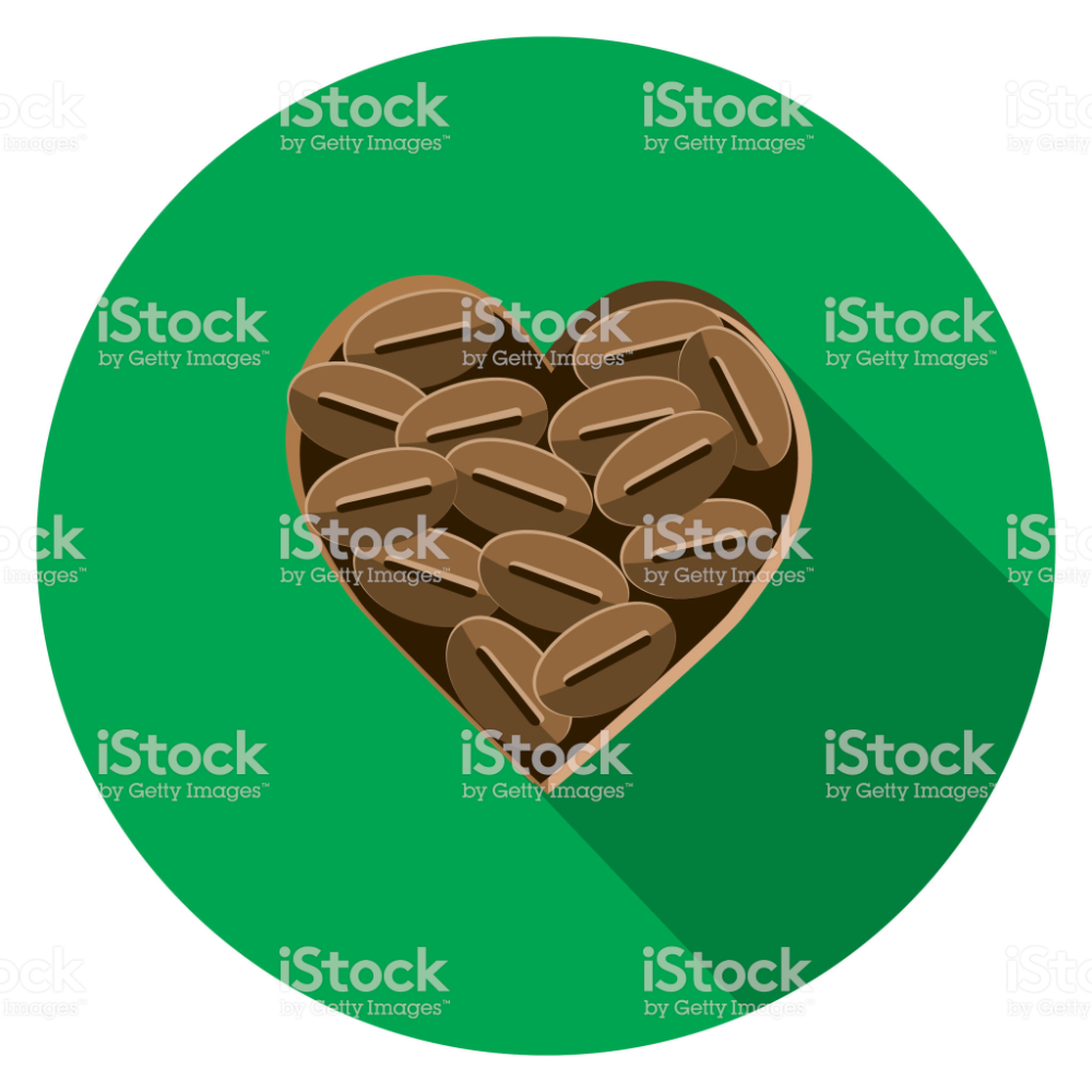 Vector Illustration Of A Coffee Beans In Shape Of A Heart Flat Design Book And Magazine Design Identity Design Logo Coffee Icon
