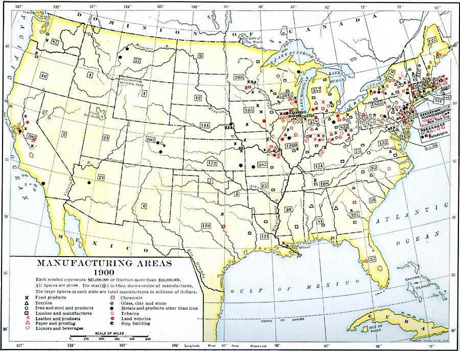 Production Of Wheat In The United States - Us lumber industry map 1900