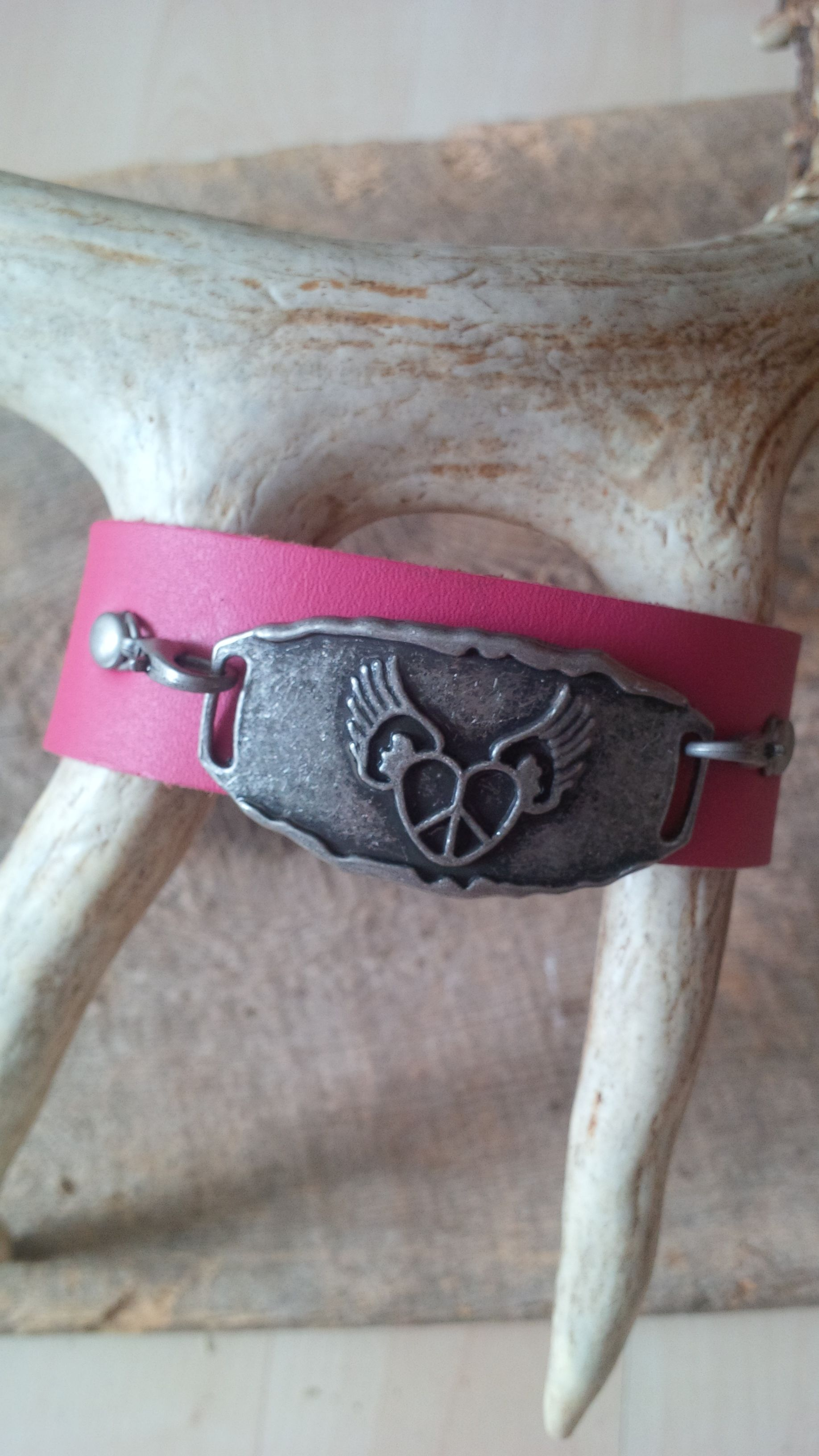 Leather wrap pink cuff bracelet with heart design pewter connector