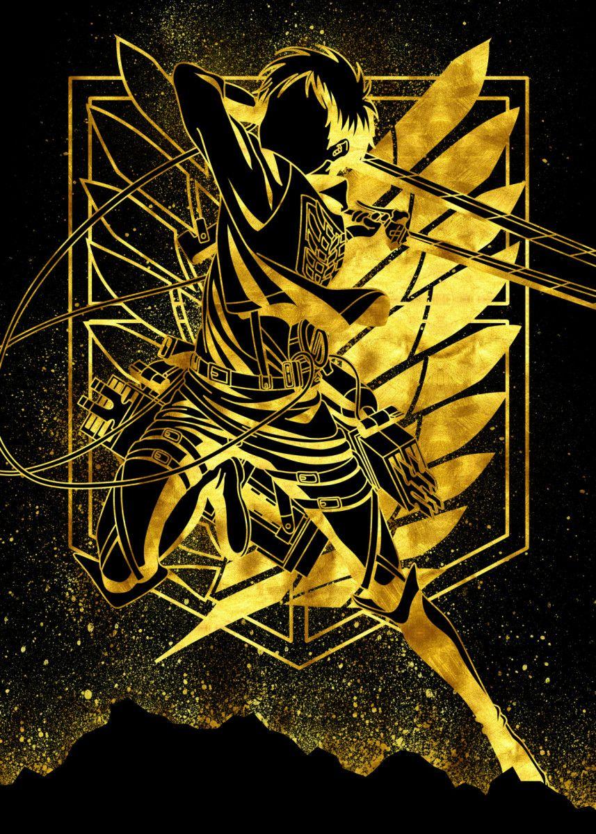 Golden Eren Metal Poster Eternal Art Displate In 2020 Anime Wallpaper Bleach Anime Art Attack On Titan Art
