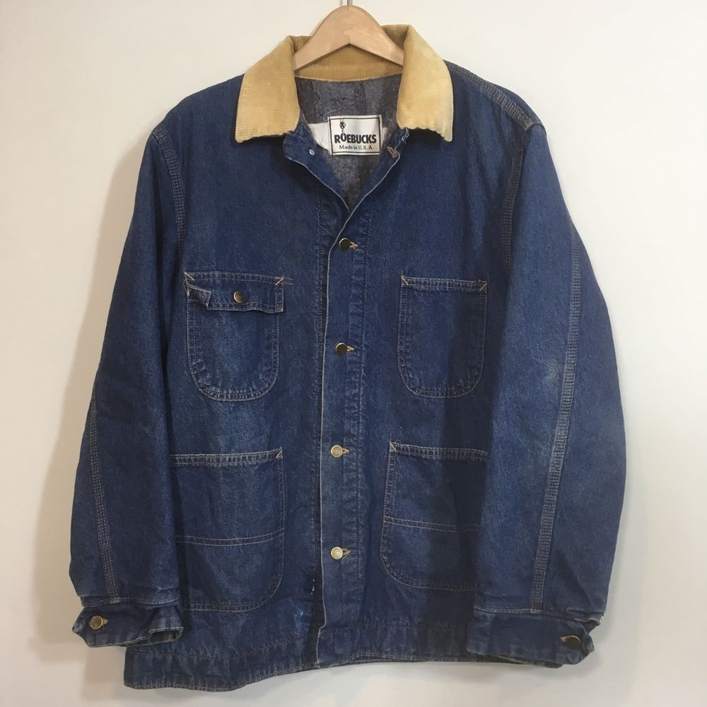 59e3b4ac9b Vintage Sears Roebuck Denim Chore Coat Barn Jacket Blanket Lined XL 46-48  USA  Roebucks  BasicJacket