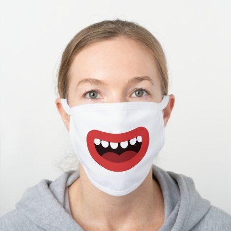 Funny Laughing Smile Fun Mouth Showing Teeth White Cotton Face Mask
