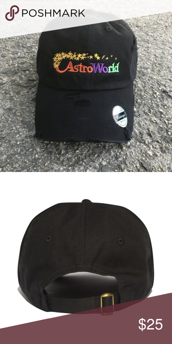 ASTROWORLD TRAVIS SCOTT hat DISTRESS - embroidered brand new hat -  embroidered - strapback   DISTRESSED theprolificshop.com Accessories Hats d8d2c13b3ac