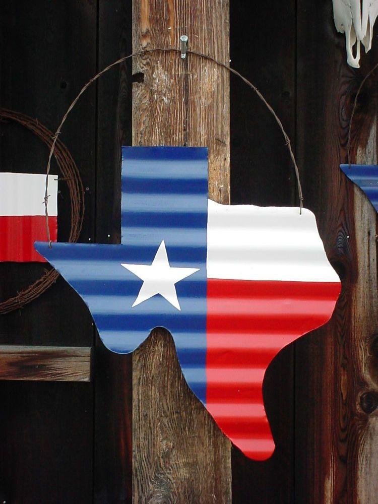 """TEXAS  FLAG WALL DECOR RUSTIC WREATH BARN TIN 24/""""X24/"""" BARB HOOP WIRE"""