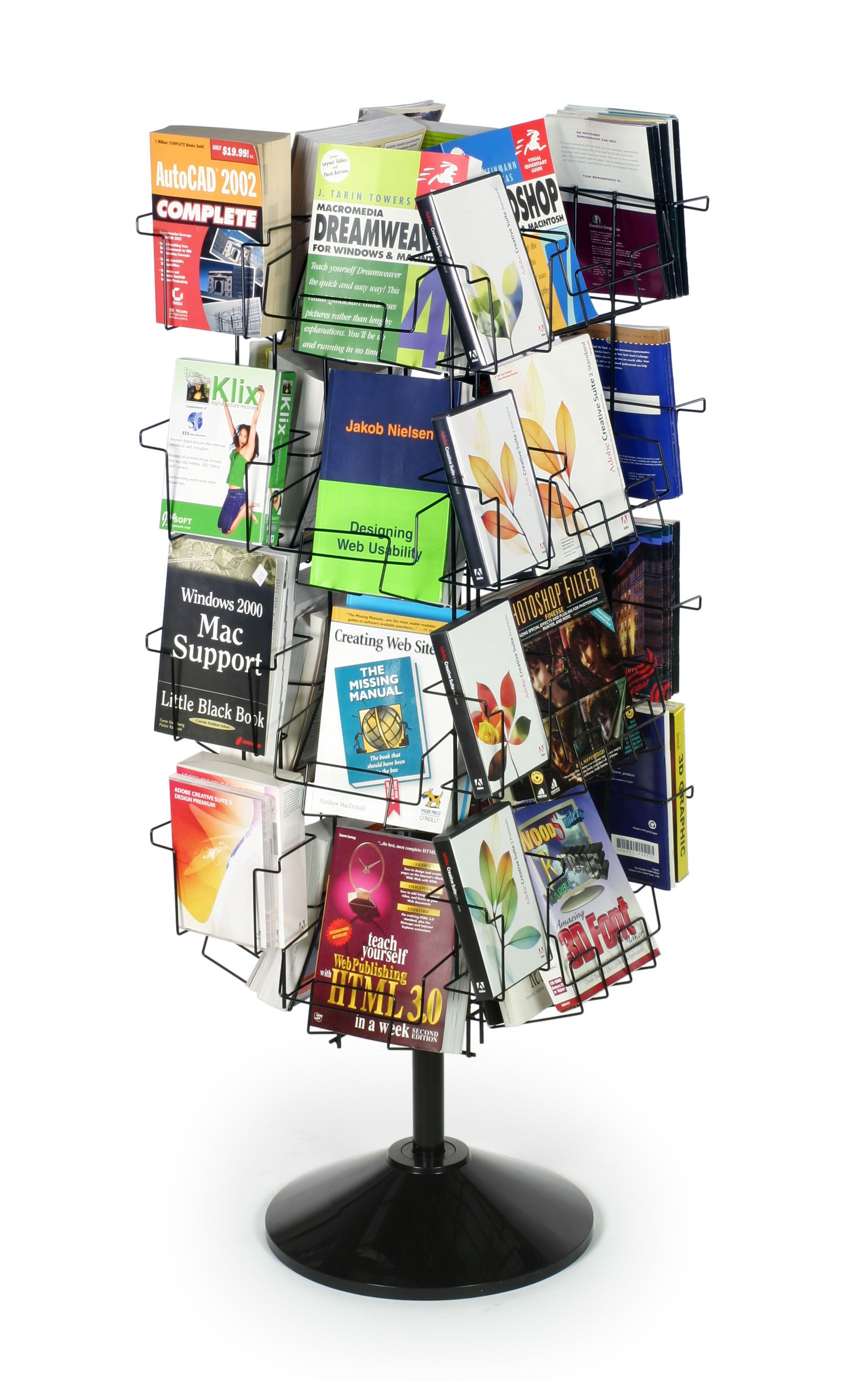 Wire Rack Display Stands | 32 Pocket Wire Literature Floor Stand For Books Adjustable Height