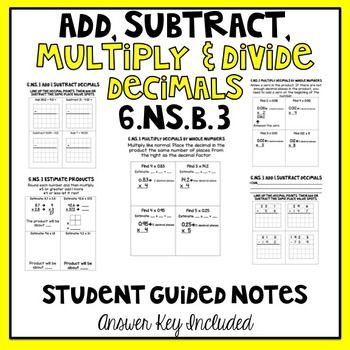 Add subtract multiply and ide multi digit numbers student guided notes th also decimal operations flow chart this provides steps rh pinterest