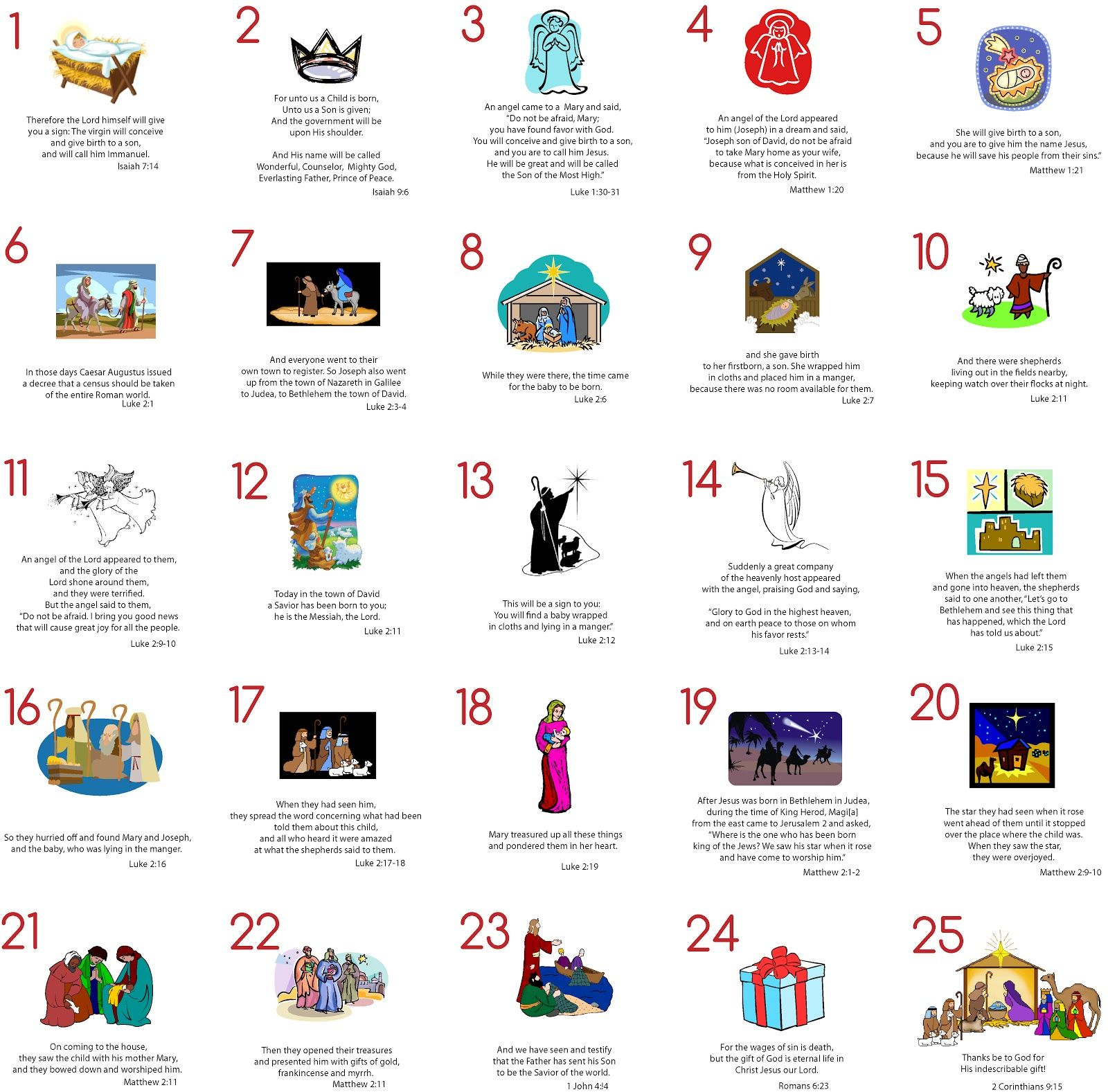 Advent Cards Free Printable
