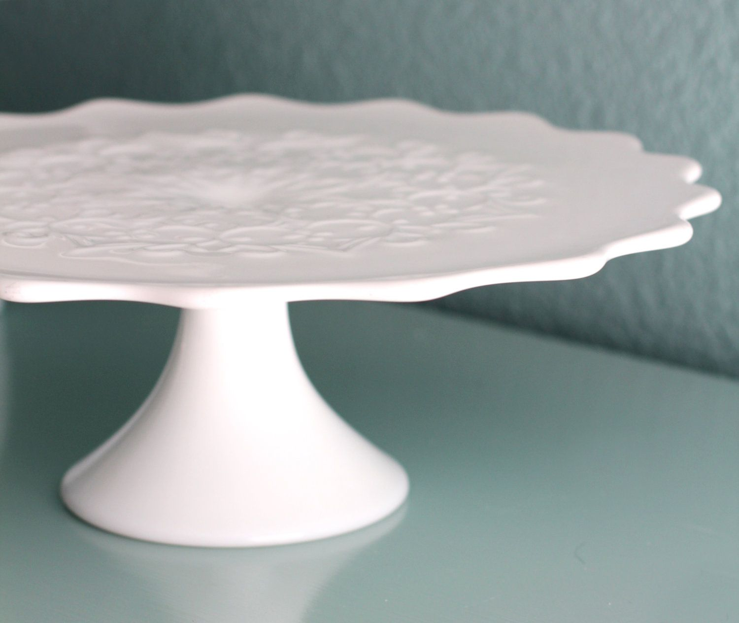 Milk Glass Cake Stand / Vintage Cake Stand Pedestal for Vintage Weddings / Scroll Embossed Scallop Cake Plate / White Cakestand & Milk Glass Cake Stand / Vintage Cake Stand by RocheStudioVintage ...