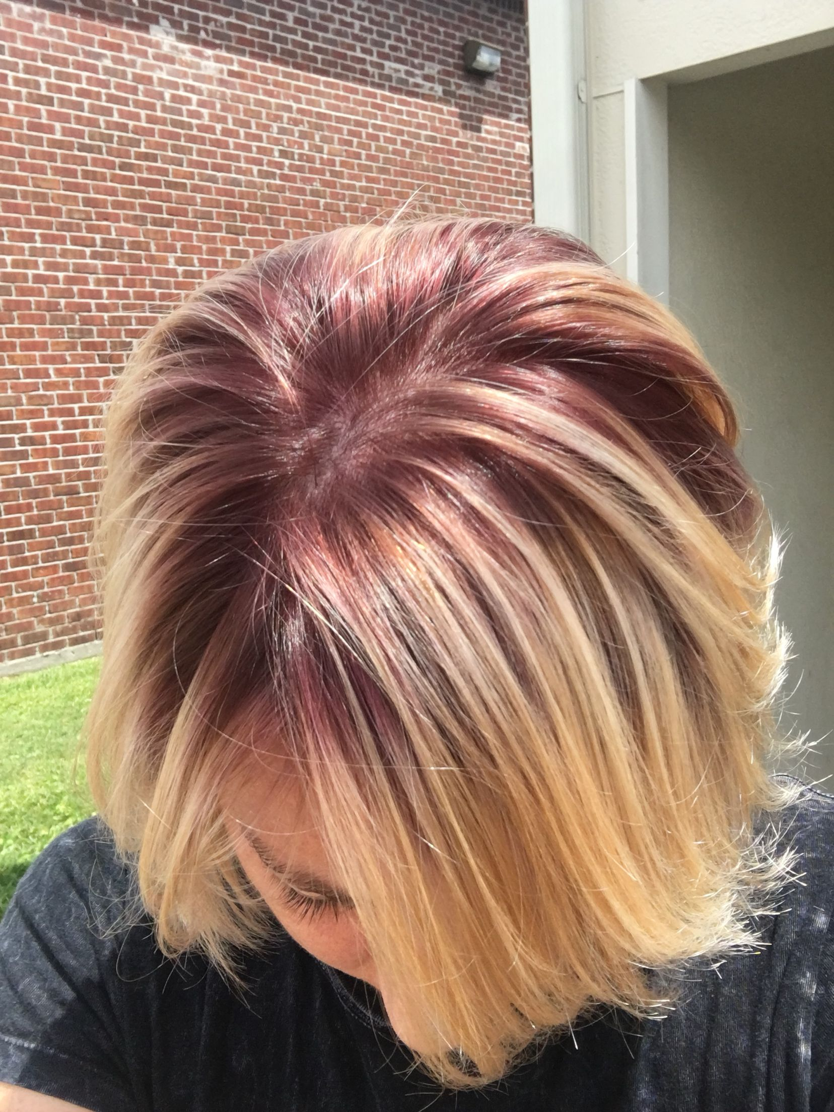 Violet Red Shadow Roots Matrix Shadow Root Blonde Hair Color Shadow Root